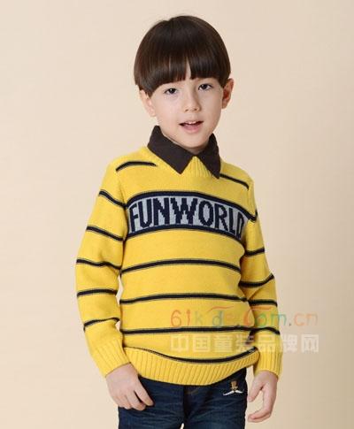 凡兜时尚字母加厚条纹针织毛衣