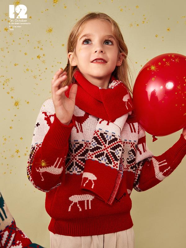 柒步獨舞童裝2019新款秋冬女童圣誕套頭針織打底衫毛衣