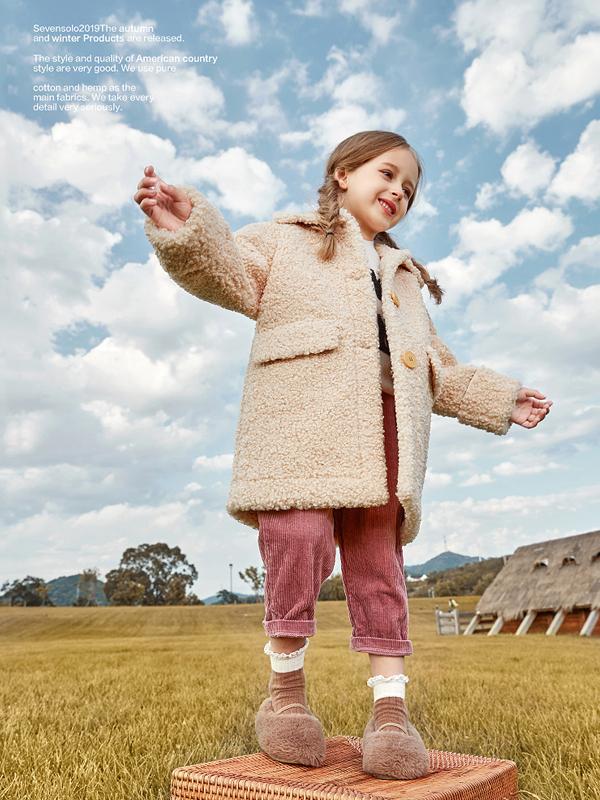 柒步獨舞童裝2019新款秋冬裝洋氣加厚加絨羊羔毛女童外套