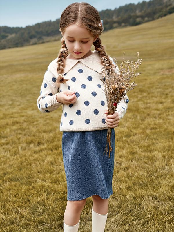 柒步獨舞童裝2019秋裝女童波點針織兩件套套裝裙